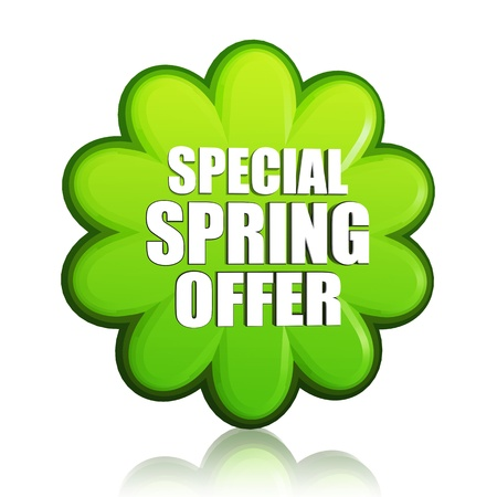 special spring offer banner - 3d green flower label with white text, business concept photo