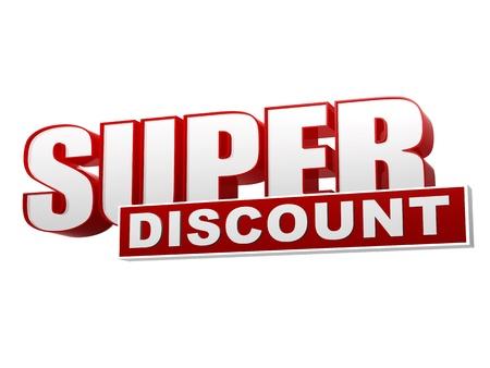 슈퍼 할인 배너, 3d 텍스트 빨간색 흰색 글자와 블록, 비즈니스 개념