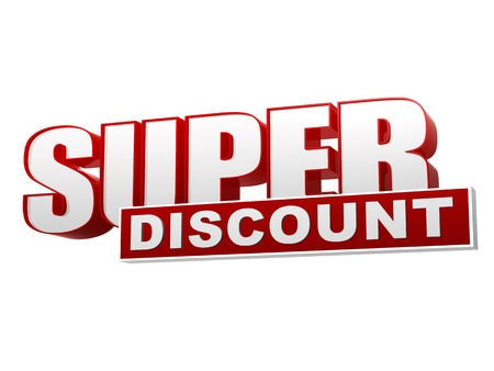 super discount banner, 3d text red white letters and block, business concept