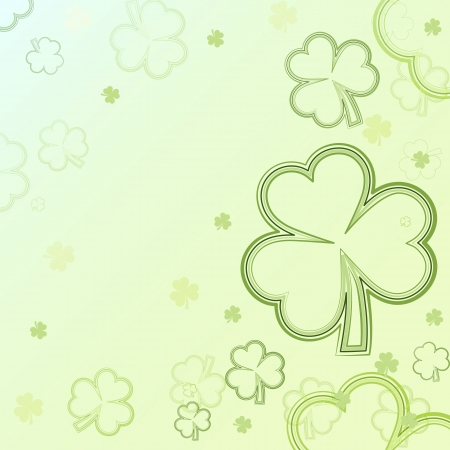 three leaved: shamrocks - green contours of flowers, background with light clovers, spring card Stock Photo