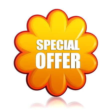 special offer banner - 3d orange flower label with white text, business concept Stock Photo - 17777596