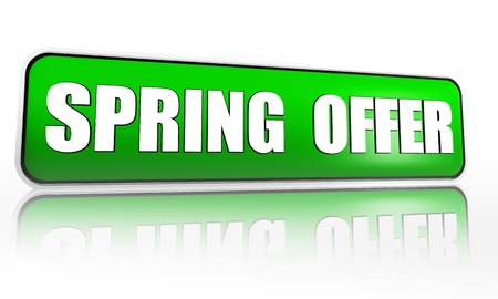spring offer button - 3d green banner with white text, business concept Stock Photo - 17777598