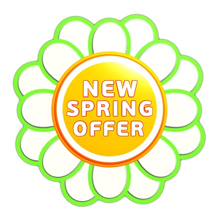 new spring offer banner - 3d green orange flower label with white text, business concept Stock Photo - 17777603
