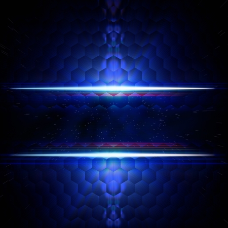 hexahedral: abstract blue background with hexagons, white light and star dust, text space Stock Photo
