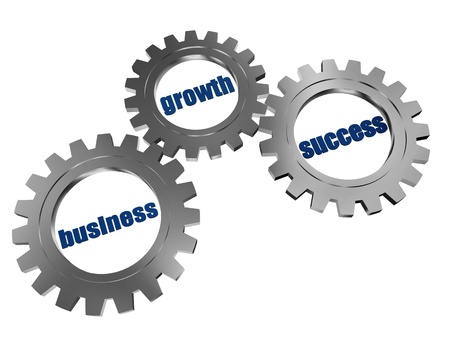 headway: business, growth and success - words in 3d silver grey gearwheels, business concept Stock Photo