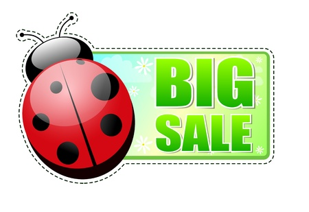 big sale banner - text in 3d green label with red ladybird and white flowers, business concept Stock Photo - 17777591