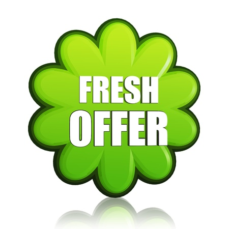 fresh spring offer banner - 3d green flower label with white text, business concept Stock Photo - 17777639