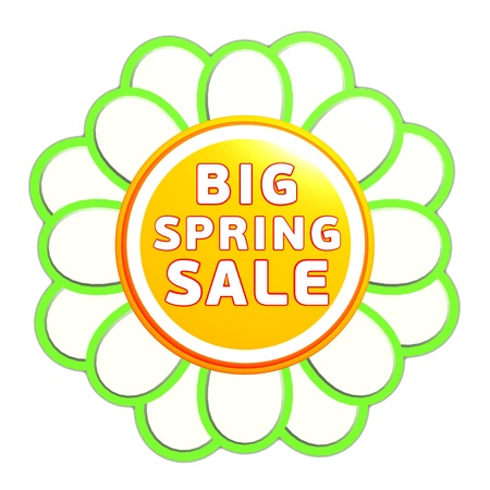 big spring sale banner - 3d green orange flower label with white text, business concept Stock Photo - 17777623
