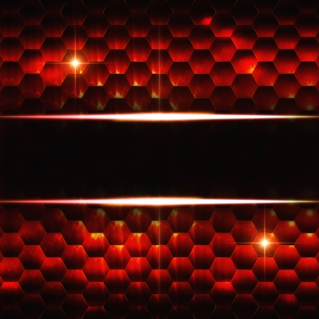 hexahedral: abstract black red background with hexagons, lights and text space Stock Photo