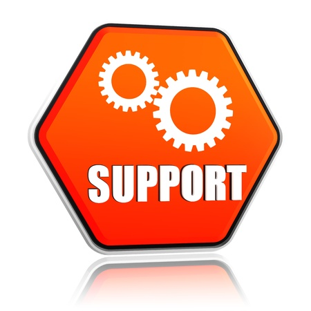 support and gears sign - 3d orange hexagon button with text and symbol Stock Photo - 17777620
