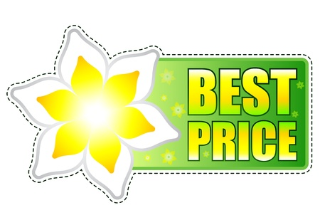 spring best price banner - text in green label with white yellow flowers, business concept Stock Photo - 17777609
