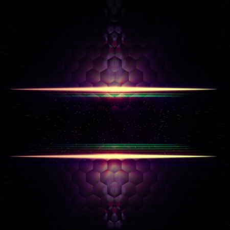 hexahedral: abstract violet background with hexagons, lights and star dust, text space Stock Photo