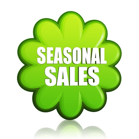 spring seasonal sales banner - 3d green flower label with white text, business concept Stock Photo - 17777622