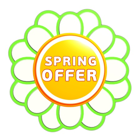 spring offer banner - 3d green orange flower label with white text, business concept Stock Photo - 17777629