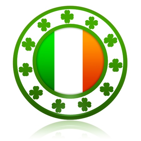 Irish flag in 3d circle badge with green shamrocks Stock Photo - 17777635