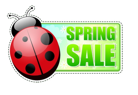 spring sale banner - text in green label with red ladybird and white flowers, business concept Stock Photo - 17777611