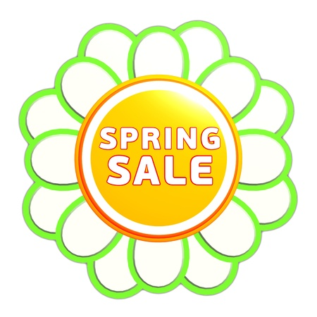 spring sale banner - 3d green orange flower label with white text, business concept Stock Photo - 17777641