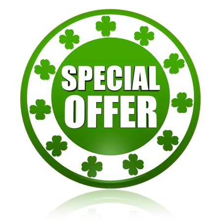 special offer - text in 3d circle badge with green shamrocks, St. Patrick's Day concept Stock Photo - 17777651