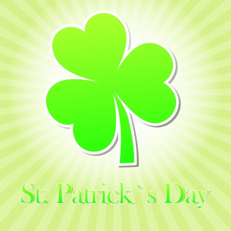three leaved: St. Patricks Day text with green shamrock and striped rays