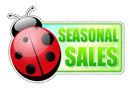 seasonal sales banner - text in green spring label with red ladybird and white flowers, business concept Stock Photo - 17777633