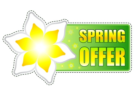 spring offer banner - text in green label with white yellow flowers, business concept Stock Photo - 17777631