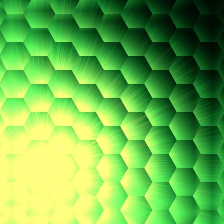 hexahedral: abstract green background with hexagons and shining yellow lights