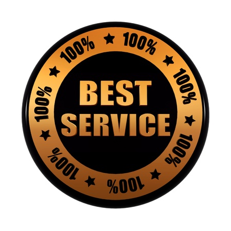 best service 100 percentages - text in 3d golden black circle label with stars, business concept