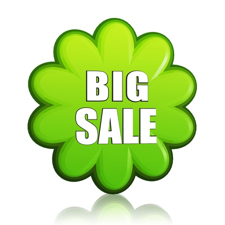 big spring sale banner - 3d green flower label with white text, business concept Stock Photo - 17777640