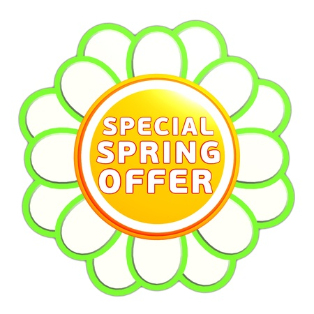 special spring offer banner - 3d green orange flower label with white text, business concept Stock Photo - 17777643