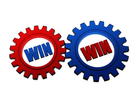 headway: win win - words in 3d red and blue gearwheels, business concept