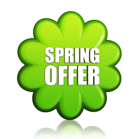 spring offer banner - 3d green flower label with white text, business concept photo