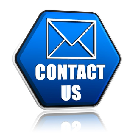 contact us envelope symbol, 3d blue hexagon button with text, business concept Stock Photo - 17973920