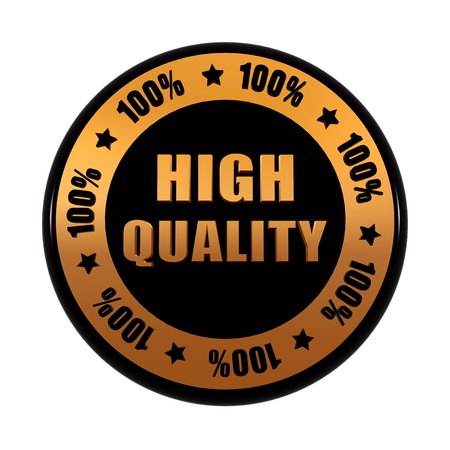 high quality 100 percentages - text in 3d golden black circle label with stars, business concept Stock Photo - 17973911