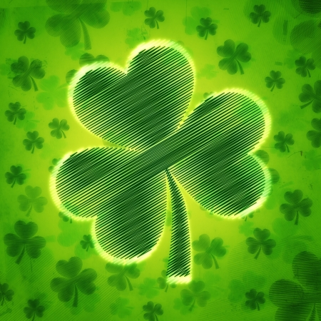 three leaved: big shamrock - vintage green background with striped flowers over old paper