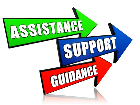 helpdesk: assistance, support, guidance - text in 3d arrows, business words concept Stock Photo