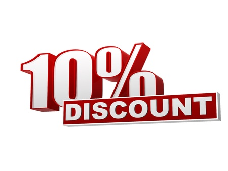 text 10 percentages discount 3d red white banner, letters and block, business concept Standard-Bild