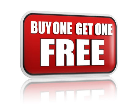 selling off: buy one get one free button - 3d red banner with white text, business concept
