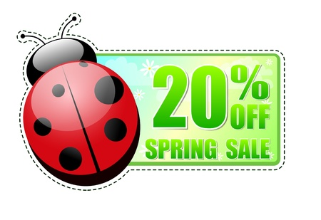 selling off: 20 percentages off spring sale banner - text in green label with red ladybird and white flowers, business concept Stock Photo
