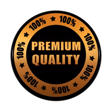 premium quality 100 percentages - text in 3d golden black circle label with stars, business concept Stock Photo - 17973973
