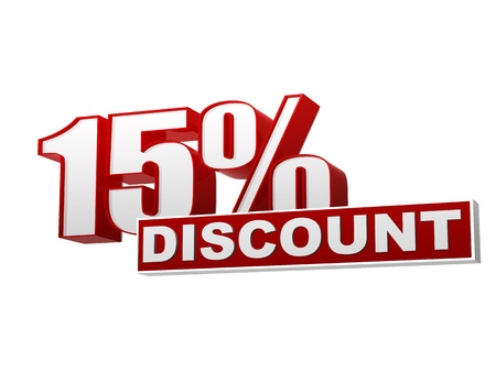 text 15 percentages discount 3d red white banner, letters and block, business concept Standard-Bild