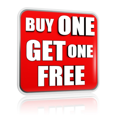 one to one: buy one get one free button - 3d red banner with white text, business concept