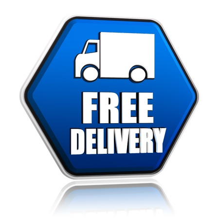 free delivery and truck sign button - 3d blue hexagon banner with white text, business concept