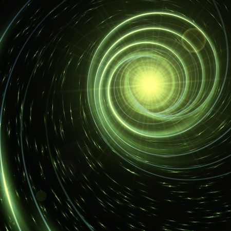 abstract star with green shining spirals over dark background Stock Photo - 17973983