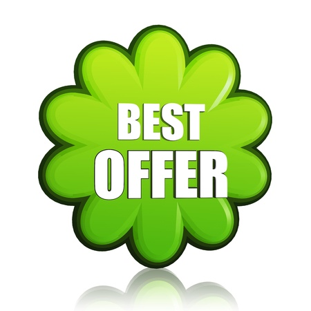 best offer banner - 3d spring green flower label with white text, business concept photo