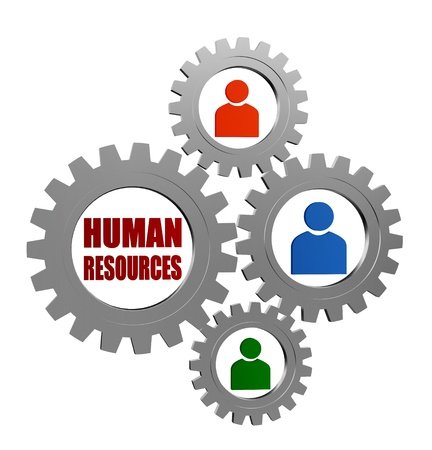 human resources words and colored person signs in 3d silver grey gearwheels, business concept
