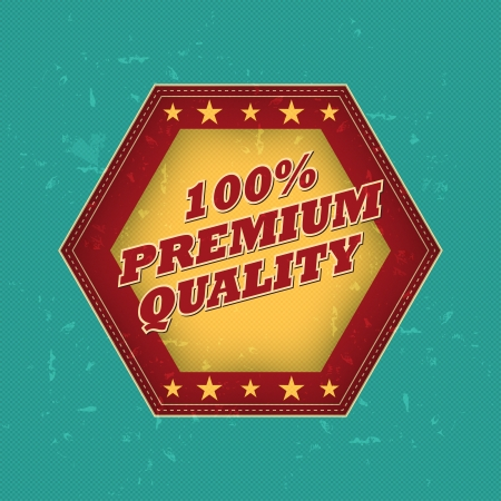 100 percentages premium quality - retro style hexagon label with text and stars, business concept Stock Photo - 17974001