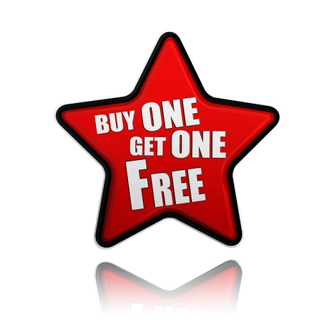 buy one get one free button - 3d red star banner with white text, business concept photo
