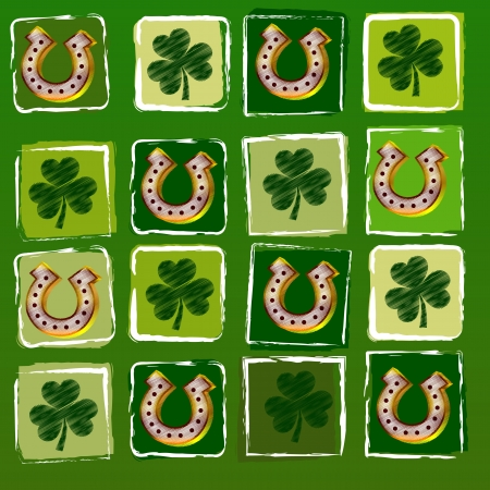 three leaved: striped horseshoes and shamrocks in squares over green background, St  Patrick Stock Photo