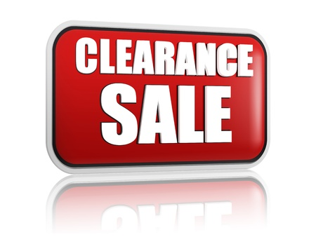clearance sale button - 3d red banner with white text, business concept Standard-Bild