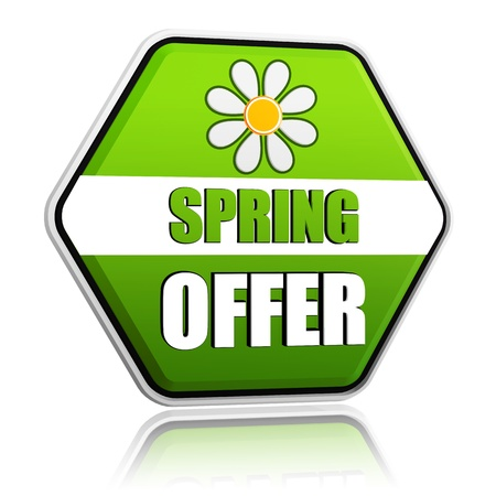 selling off: spring offer banner - 3d green hexagon label with white text and flower, business concept